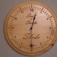 "Personalized couples or  name wall clock engraved wood 11"" diameter pine"