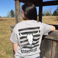 Backwoods Born & Raised Skull Horns Distressed Bright Unisex T Shirt