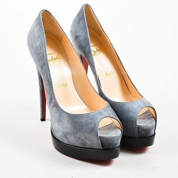 MDIG3D5 Christian Louboutin GreyChristian Louboutin Palais Royal Trepointe 140 Pumps