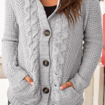 Gray Fur Hood Cable Knit Cardigan Sweater