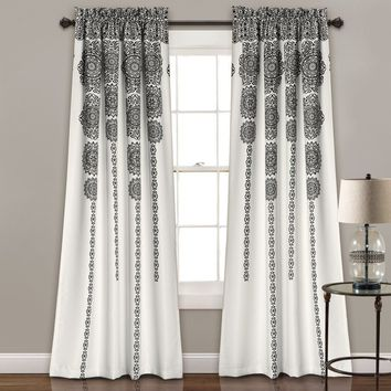 Sabine Boho Black | Gray Mandala Curtain SET