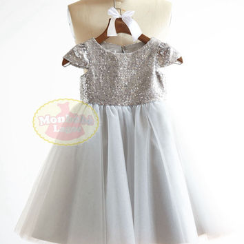 Cap Sleeves Silver Sequin Gray Tulle Flower Girl Dress Junior Bridesmaid Wedding Party DressF0015