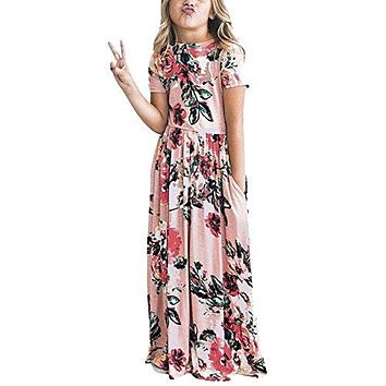 HOOYON Dresses Girl's Floral Printed Short Sleeve Casual Summer Long Maxi Dress with Pockets