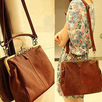 Brown Color Europe Retro Vintage Ladies Shoulder Purse Handbag Totes Women Bag O