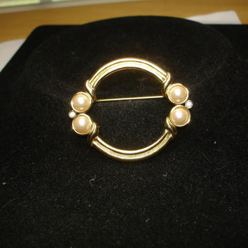 Monet Faux Pearl and Rhinestone Gold Tone Brooch