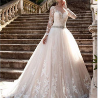Illusion Back Bridal Dress Long Sleeves Lace Wedding Dress Gown Size 2 4 6 8 10