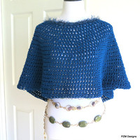 Teal Blue Poncho, Crochet Circle Poncho with Fur Trim, Fall Fashion Knitwear