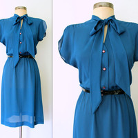70s Sheer Dress / 70s Secretary Dress / Pussybow Blouse / CERULEAN BLUE