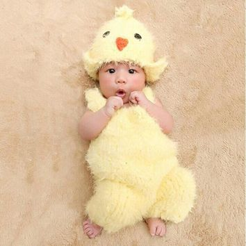 Cute Chicken Hat+Suspenders Set Kids Photography Outfit