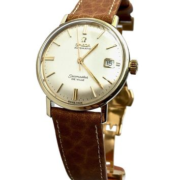 Vintage 1967 Omega Seamaster De Ville Watch (Champagne Dial) with Calf Leather Band