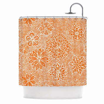 "Julia Grifol ""Garden Flowers"" Orange Floral Shower Curtain"