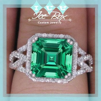 Cultured Emerald Engagement Ring 3.2ct, 8mm Asscher Cut Cultured Emerald set in a 14k White Gold Diamond Halo Lattice Band Setting