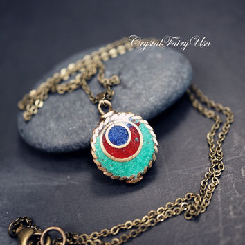 Peacock Necklace - Peacock Tail Necklace - Retro Tiny Turquoise Necklace - Peacock Feather Pendant - Simple Bronze Blue Stone Necklace