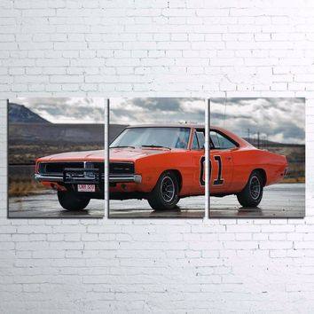 Dukes of Hazard Charger Orange Rebel 01 Movie Wall Art Canvas Panel Print Poster