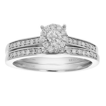 0.31 Carats 1/2 CT Diamond Prong Set Channel Wedding Engagement Ring Set 14K Gold