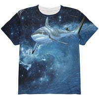 Shark Swimming in Space Galaxy All Over Youth T Shirt