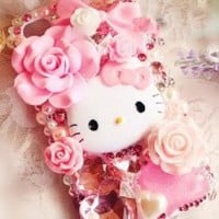 BLING Hello Kitty 3D Pink Handmade Iphone 4/4s Snap on Back Cover Case with Roses, Hearts & Gems Combo w/FREE metallic mini dust plug stylus & repair kit by Jersey Bling
