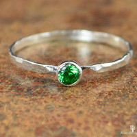 Dainty Silver Emerald Ring