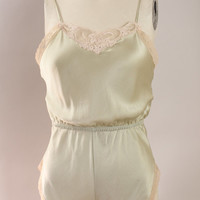 Vintage - 80s - Ivory Lace - Light Sage Green - Silk - Onesuit - Lingerie - Negligee