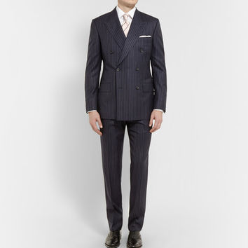 Kingsman - Navy Double-Breasted Pinstripe Suit | MR PORTER