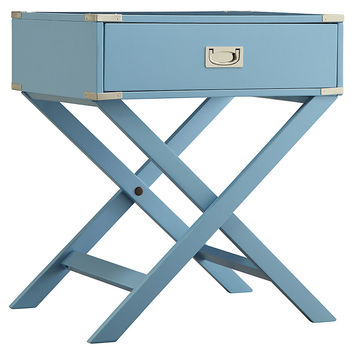 Anders Campaign Nightstand, Silver/Blue, Nightstands