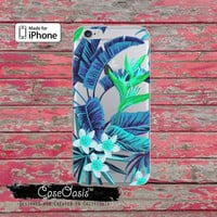Blue Tropical Leaves Flowers Pattern Clear Phone Case For iPhone 6, iPhone 6 Plus +, iPhone 6s, iPhone 6s Plus +, iPhone 5/5s, iPhone 5c