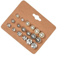 Simple 9 pairs of round pearl diamond earrings 9 sets of earrings combination set