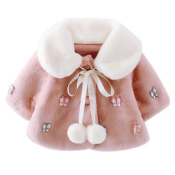 Baby Girl Winter Autumn Faux Fur Coat Long Sleeve Turn-down Collar Fur Ball Jackets Butterfly Thick Kids Girls Coats