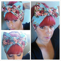 Floral on Blue with polka dots Headwrap Bandana Hair Big Bow Tie 1940s 1950s Vintage Style