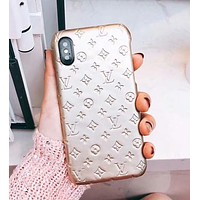 Louis Vuitton LV Fashion Pure Color iPhone Phone Cover Case For iphone 6 6s 6plus 6s-plus 7 7plus 8 8plus X Golden I-OF-SJK