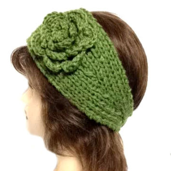 Women's Green Large Crochet Flower Adjustable 2 Button Stretch Headband Ear Warmer Crochet Headband