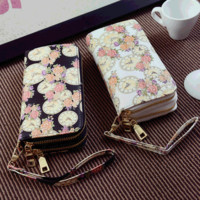 Autumn Wallet Vintage Print Clock Zippers Ladies Purse [6048289217]