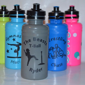 Custom Water Bottle for Athlete wrestling, t ball, baseball, football, soccer & many more PERSONALIZED names tropical, summer palm tree