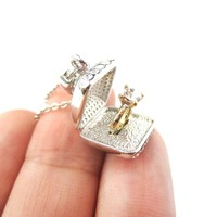 3D Diamond Ring Love Proposal Pendant Necklace in Silver | Anniversary Gifts