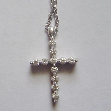18k White Gold Diamond Mini Cross Pendant Necklace
