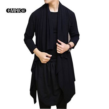 Men Shawl Long Sleeve Cardigan Trench Coat Fashion Casual Long Jacket Male Stage Show Clothing Punk Rock Outerwear
