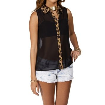 Black Leopard Trim Top