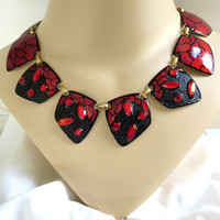 Red & Black Enamel Copper Necklace with Red Rhinestones and Abstract Design – Vintage Haute Couture