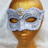 White and Silver Metallic Brocade Bridal Masquerade Mask with Pearl Centerpiece White Brocade and Leather Masquerade Ball Mask