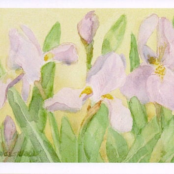 Purple Irises Watercolor Note Cards Flower Graduation Get Well Card Teacher Gift for Her Iris Invitations Thank You Birthday Blank Greeting