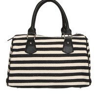Canvas Striped Satchel   Shop Accessories at Wet Seal