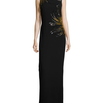 Sleeveless Embellished Gown,