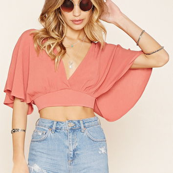 V-Neck Split-Back Crop Top