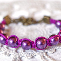 Purple beaded bracelet, shamballa bracelet, adjustable handmade bracelet