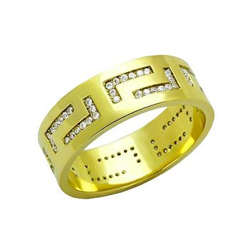 Tetris Gold - Men's Stainless Steel Gold IP Ring with CZ Stones