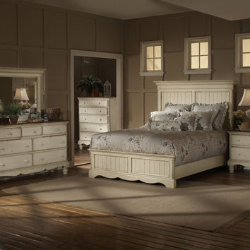 1172-wilshire-panel-bed-queen-rails-nightstand-dresser-and-mirror - Free Shipping!