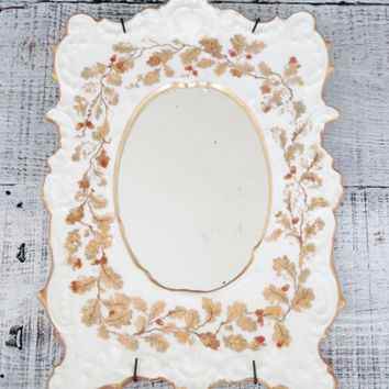 T&V Limoges France Porcelain Picture Frame Vintage Mirror Small Hand Painted Oak Leaves and Acorns Frame Victorian Mirror Cottage Chic