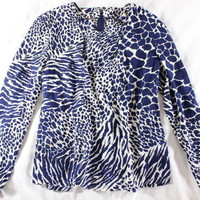 """~~~ AWESOME ANIMAL ACTION ~~VINTAGE """"ANIMAL-PRINT"""" LOUCHE SILK BLOUSE/TOP ~ M/L"""
