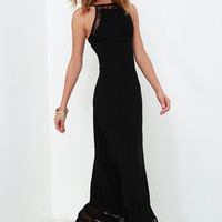 Spellbound and Determined Black Lace Maxi Dress