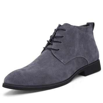 Genuine Leather Breathable High Top Ankle Boots